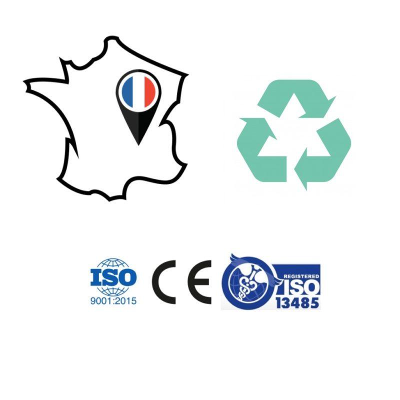 Ceci est l'ensemble des engagements et certifications de la société LKN Médical: ISO 9001, CE, ISO 13485, fabrication française et développement durable